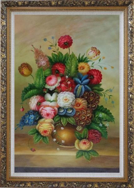 Framed Peony, Tulips And Other Blooming Flowers in a Vase Oil Painting Still Life Bouquet Classic Ornate Antique Dark Gold Wood Frame 42 x 30 Inches