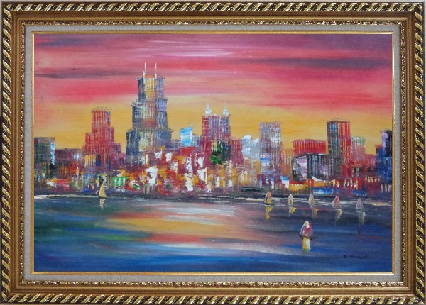 Framed Chicago Skyline Waterfront View Oil Painting Cityscape America Modern Exquisite Gold Wood Frame 30 x 42 Inches