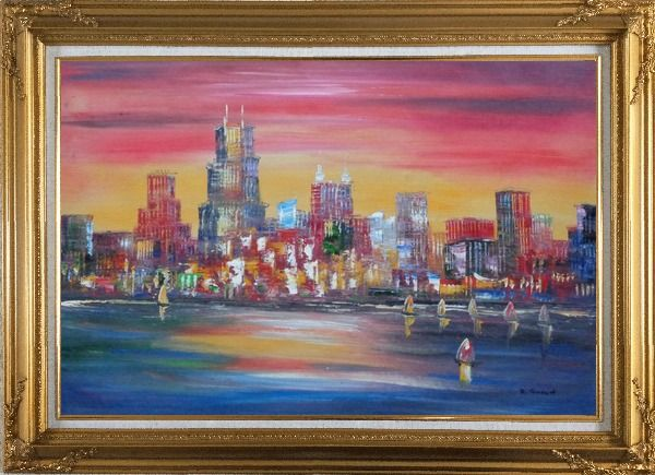 Framed Chicago Skyline Waterfront View Oil Painting Cityscape America Modern Gold Wood Frame with Deco Corners 31 x 43 Inches