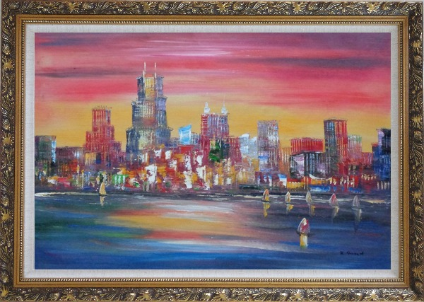 Framed Chicago Skyline Waterfront View Oil Painting Cityscape America Modern Ornate Antique Dark Gold Wood Frame 30 x 42 Inches