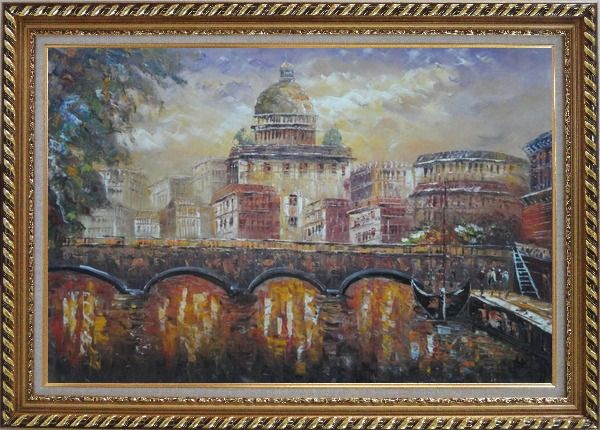 Framed Night View of Bridge over Seine in Paris Oil Painting Cityscape France Impressionism Exquisite Gold Wood Frame 30 x 42 Inches