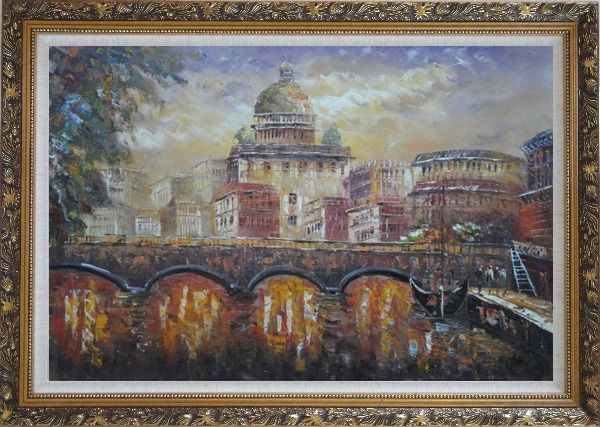Framed Night View of Bridge over Seine in Paris Oil Painting Cityscape France Impressionism Ornate Antique Dark Gold Wood Frame 30 x 42 Inches