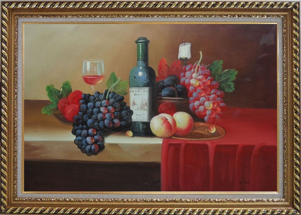 Framed Still Life With Fruit, Glass of Wine, and Fruit Plates Oil Painting Classic Exquisite Gold Wood Frame 30 x 42 Inches