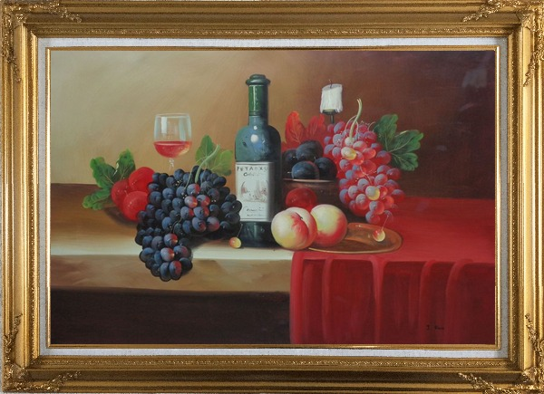 Framed Still Life With Fruit, Glass of Wine, and Fruit Plates Oil Painting Classic Gold Wood Frame with Deco Corners 31 x 43 Inches
