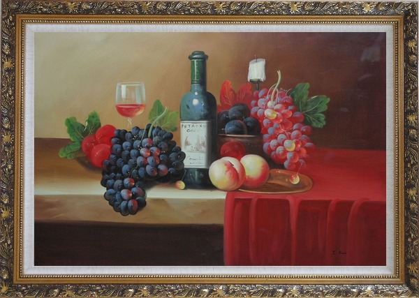 Framed Still Life With Fruit, Glass of Wine, and Fruit Plates Oil Painting Classic Ornate Antique Dark Gold Wood Frame 30 x 42 Inches