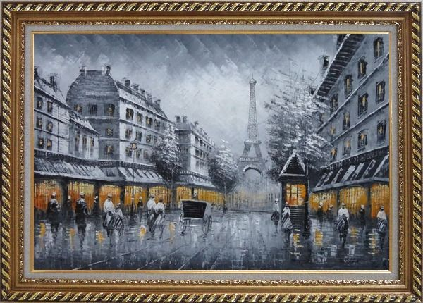 Framed Black and White Paris Street and Eiffel Tower with Yellow Light Oil Painting Cityscape Impressionism Exquisite Gold Wood Frame 30 x 42 Inches