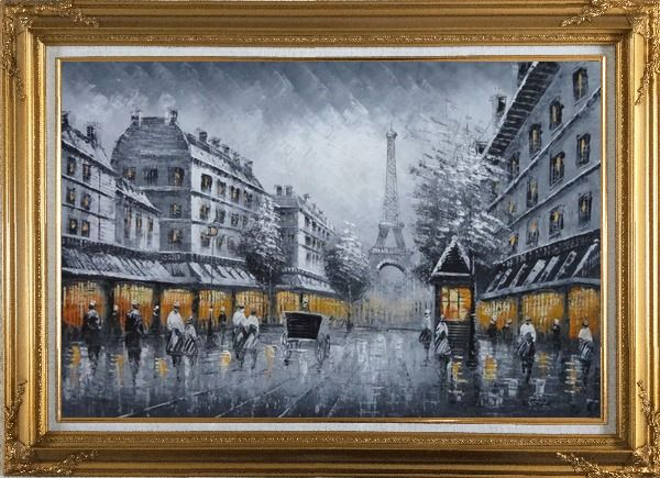 Framed Black and White Paris Street and Eiffel Tower with Yellow Light Oil Painting Cityscape Impressionism Gold Wood Frame with Deco Corners 31 x 43 Inches