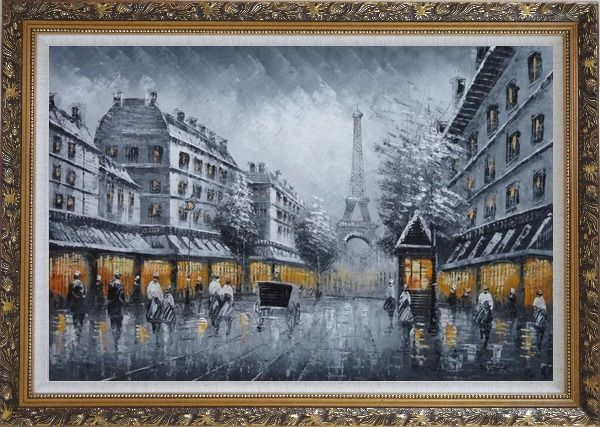 Framed Black and White Paris Street and Eiffel Tower with Yellow Light Oil Painting Cityscape Impressionism Ornate Antique Dark Gold Wood Frame 30 x 42 Inches