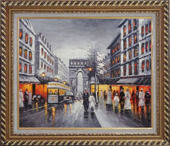 Framed Black and White Paris Arc de Triomphe Oil Painting Cityscape France Impressionism Exquisite Gold Wood Frame 26 x 30 Inches