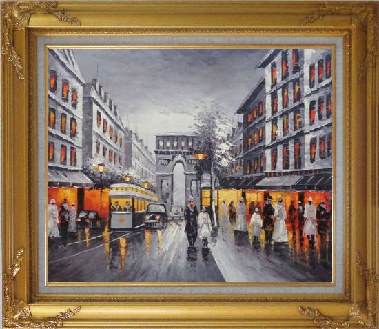 Framed Black and White Paris Arc de Triomphe Oil Painting Cityscape France Impressionism Gold Wood Frame with Deco Corners 27 x 31 Inches