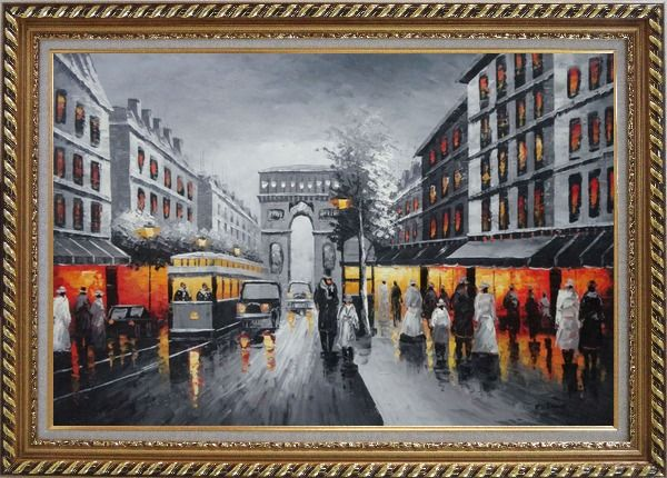Framed Black and White Paris Arc De Triumph Oil Painting Cityscape France Impressionism Exquisite Gold Wood Frame 30 x 42 Inches