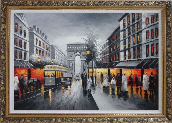 Framed Black and White Paris Arc De Triumph Oil Painting Cityscape France Impressionism Ornate Antique Dark Gold Wood Frame 30 x 42 Inches