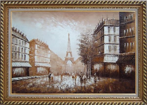Framed Walking to Eiffel Tower Under Afternoon Sunshine Oil Painting Cityscape France Impressionism Exquisite Gold Wood Frame 30 x 42 Inches