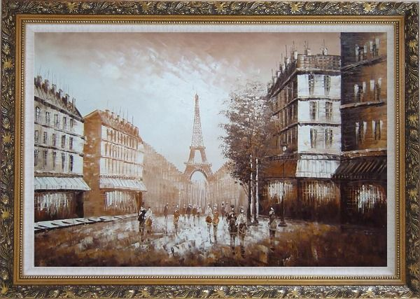 Framed Walking to Eiffel Tower Under Afternoon Sunshine Oil Painting Cityscape France Impressionism Ornate Antique Dark Gold Wood Frame 30 x 42 Inches