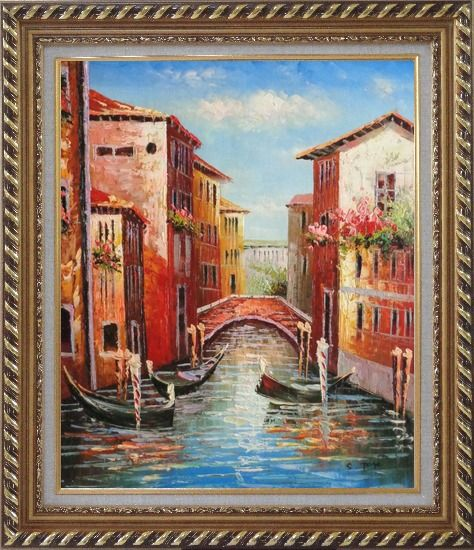 Framed Venice Street On Sunday Oil Painting Italy Impressionism Exquisite Gold Wood Frame 30 x 26 Inches