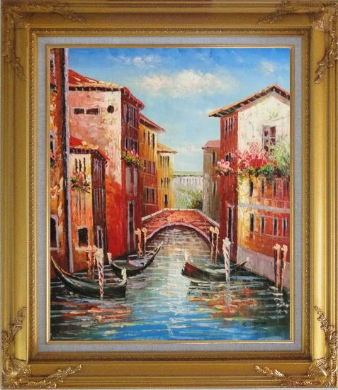 Framed Venice Street On Sunday Oil Painting Italy Impressionism Gold Wood Frame with Deco Corners 31 x 27 Inches