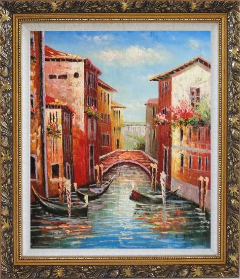 Framed Venice Street On Sunday Oil Painting Italy Impressionism Ornate Antique Dark Gold Wood Frame 30 x 26 Inches