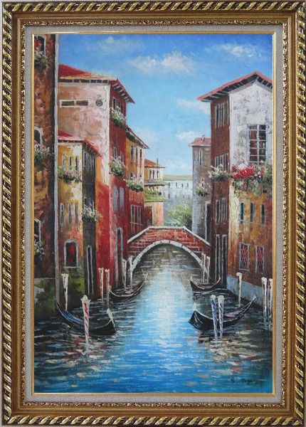 Framed Venice Street On Sunday Oil Painting Italy Impressionism Exquisite Gold Wood Frame 42 x 30 Inches