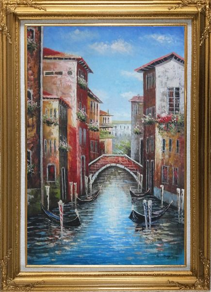 Framed Venice Street On Sunday Oil Painting Italy Impressionism Gold Wood Frame with Deco Corners 43 x 31 Inches