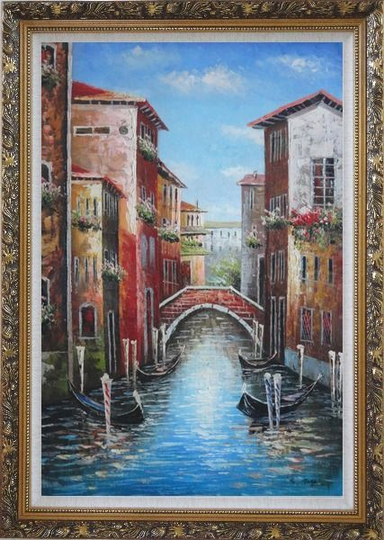 Framed Venice Street On Sunday Oil Painting Italy Impressionism Ornate Antique Dark Gold Wood Frame 42 x 30 Inches