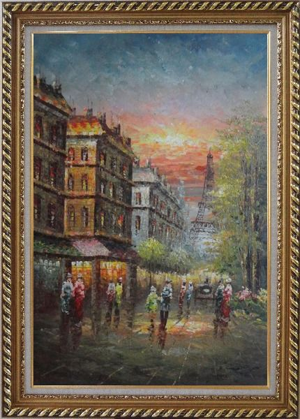 Framed Street Scene Near Paris Eiffel Tower Oil Painting Cityscape France Impressionism Exquisite Gold Wood Frame 42 x 30 Inches