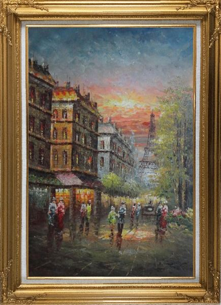 Framed Street Scene Near Paris Eiffel Tower Oil Painting Cityscape France Impressionism Gold Wood Frame with Deco Corners 43 x 31 Inches