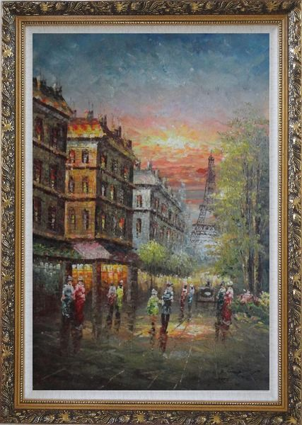 Framed Street Scene Near Paris Eiffel Tower Oil Painting Cityscape France Impressionism Ornate Antique Dark Gold Wood Frame 42 x 30 Inches