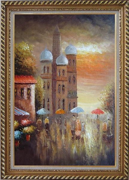 Framed Old Building with Colorful Scenery Oil Painting Cityscape Impressionism Exquisite Gold Wood Frame 42 x 30 Inches