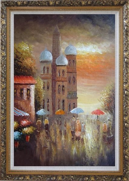 Framed Old Building with Colorful Scenery Oil Painting Cityscape Impressionism Ornate Antique Dark Gold Wood Frame 42 x 30 Inches