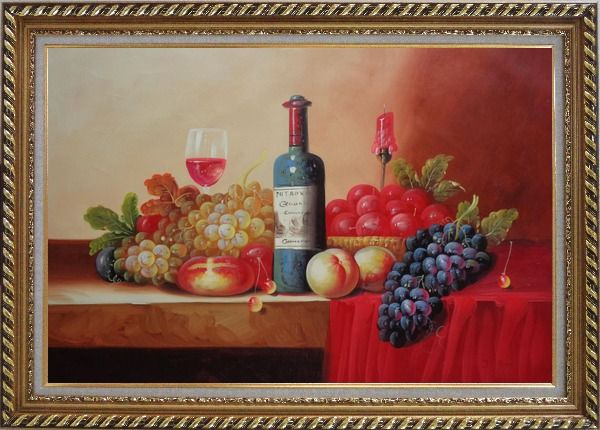 Framed Still Life of Grape, Peaches, Plate and Curtains Oil Painting Fruit Classic Exquisite Gold Wood Frame 30 x 42 Inches