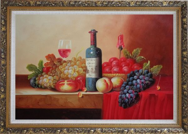 Framed Still Life of Grape, Peaches, Plate and Curtains Oil Painting Fruit Classic Ornate Antique Dark Gold Wood Frame 30 x 42 Inches