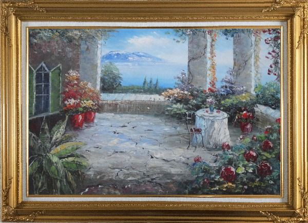 Framed Stunning Colorful Flower Patio Garden Overlooking the Mediterranean Sea Oil Painting Naturalism Gold Wood Frame with Deco Corners 31 x 43 Inches