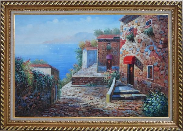 Framed Mediterranean Stone Village with Beautiful Flowers Oil Painting Naturalism Exquisite Gold Wood Frame 30 x 42 Inches