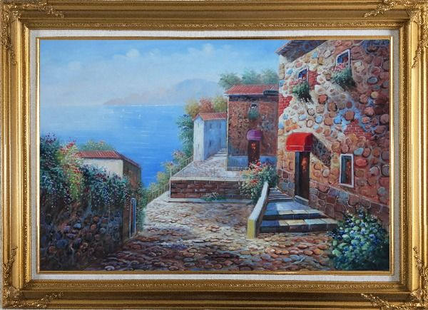 Framed Mediterranean Stone Village with Beautiful Flowers Oil Painting Naturalism Gold Wood Frame with Deco Corners 31 x 43 Inches
