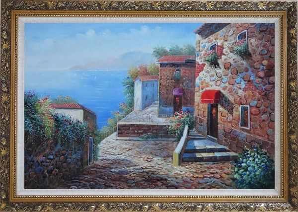 Framed Mediterranean Stone Village with Beautiful Flowers Oil Painting Naturalism Ornate Antique Dark Gold Wood Frame 30 x 42 Inches