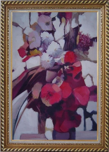 Framed Elegant Flowers in a Warm Setting Oil Painting Still Life Decorative Exquisite Gold Wood Frame 42 x 30 Inches