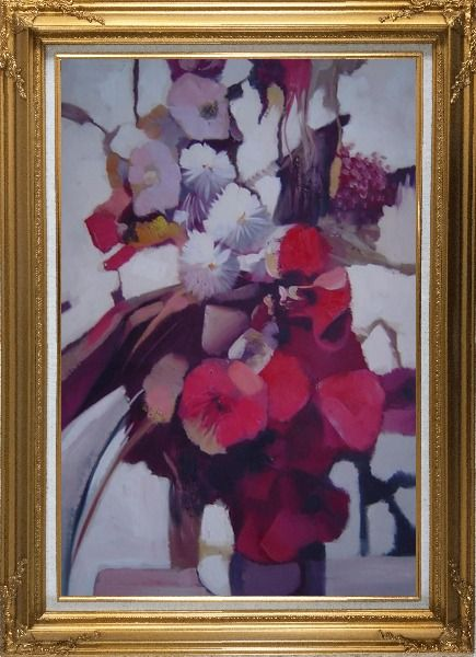 Framed Elegant Flowers in a Warm Setting Oil Painting Still Life Decorative Gold Wood Frame with Deco Corners 43 x 31 Inches
