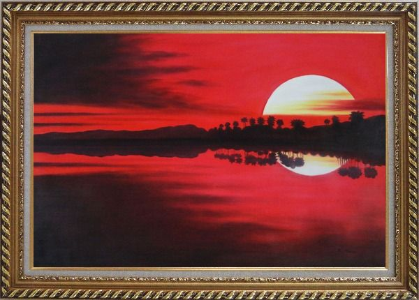 Framed Gorges Red Lake at Sunset Oil Painting Landscape River Naturalism Exquisite Gold Wood Frame 30 x 42 Inches