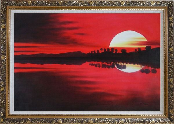 Framed Gorges Red Lake at Sunset Oil Painting Landscape River Naturalism Ornate Antique Dark Gold Wood Frame 30 x 42 Inches