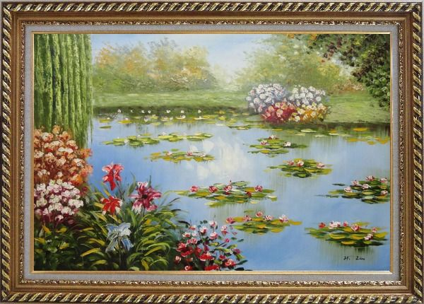 Framed Red Lily Lake Bridge View Oil Painting Flower Naturalism Exquisite Gold Wood Frame 30 x 42 Inches