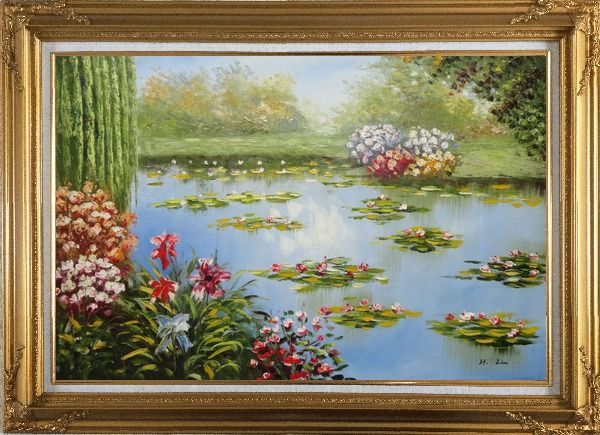 Framed Red Lily Lake Bridge View Oil Painting Flower Naturalism Gold Wood Frame with Deco Corners 31 x 43 Inches