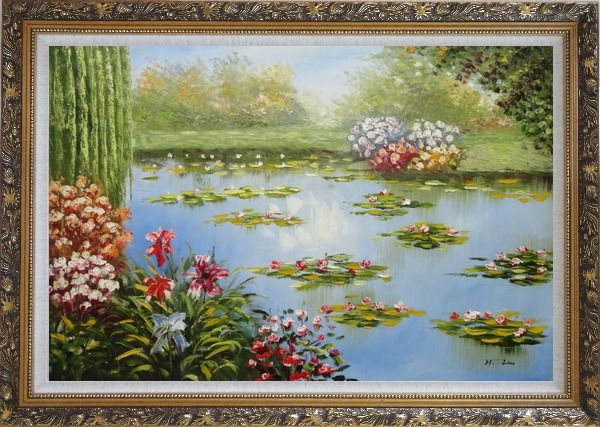 Framed Red Lily Lake Bridge View Oil Painting Flower Naturalism Ornate Antique Dark Gold Wood Frame 30 x 42 Inches