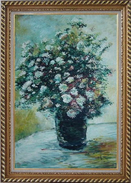 Framed Light Color Chrysanthemum in Vase Oil Painting Flower Still Life Daisy Impressionism Exquisite Gold Wood Frame 42 x 30 Inches