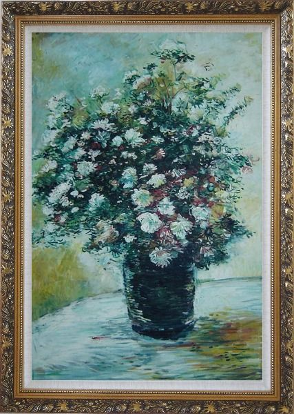 Framed Light Color Chrysanthemum in Vase Oil Painting Flower Still Life Daisy Impressionism Ornate Antique Dark Gold Wood Frame 42 x 30 Inches