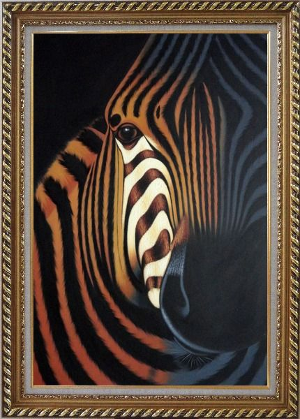 Framed Zebra Oil Painting Animal Decorative Exquisite Gold Wood Frame 42 x 30 Inches