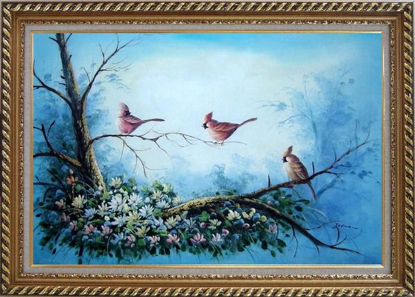 Framed Three Colorful Cardinals Playing on Flower Tree Oil Painting Animal Bird Naturalism Exquisite Gold Wood Frame 30 x 42 Inches