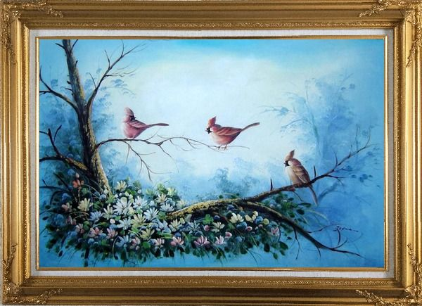 Framed Three Colorful Cardinals Playing on Flower Tree Oil Painting Animal Bird Naturalism Gold Wood Frame with Deco Corners 31 x 43 Inches