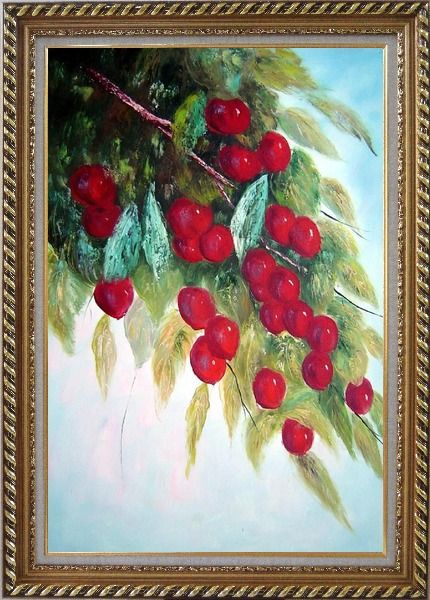 Framed Tree with Purple Fruit at Harvest time Oil Painting Naturalism Exquisite Gold Wood Frame 42 x 30 Inches