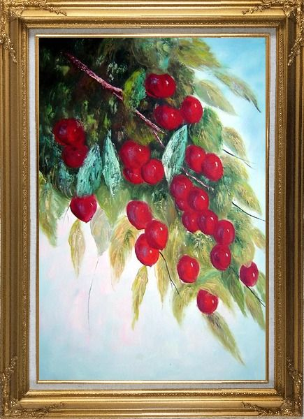 Framed Tree with Purple Fruit at Harvest time Oil Painting Naturalism Gold Wood Frame with Deco Corners 43 x 31 Inches