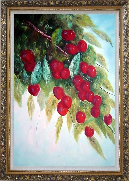 Framed Tree with Purple Fruit at Harvest time Oil Painting Naturalism Ornate Antique Dark Gold Wood Frame 42 x 30 Inches